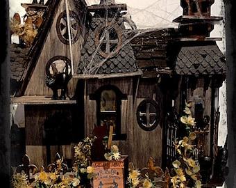 Haunted dollhouse Halloween decoration half scale dollhouse ooak miniature dollhouse Miniature  House Halloween Party table centerpiece gift