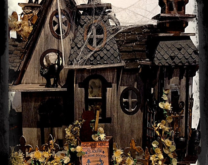 Haunted dollhouse Halloween decoration half scale dollhouse ooak miniature dollhouse Miniature  House Halloween Party table centerpiece gift