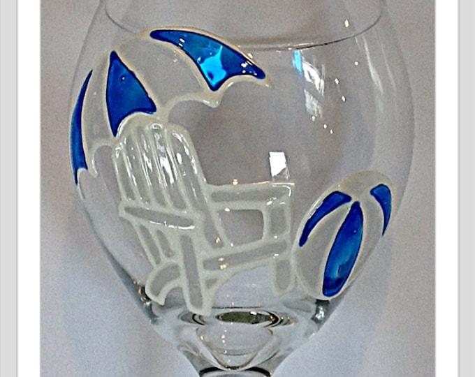 Beach Chair hand painted wine glass Blue and White Beach umbrella Adirondack Chair Bridal Shower gift hostess gift Wedding Gift  Beach decor