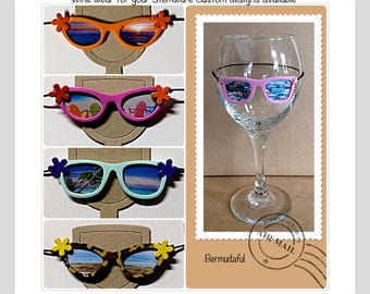Sunglasses for Wine Glasses Funny Wine Charms Cute Wine Charm  beach chairs lighthouse tropical scene bridesmaid gift for her bridal shower