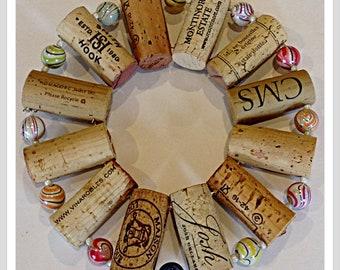 up-cycled wine cork trivet with bling multicolored marble beads hot plate wall decoration housewarming gift Wine tasting favor shower gift