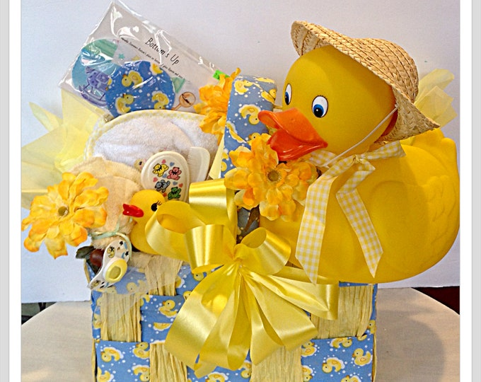 Rubber Ducky Gift Basket Huge Rubber Duck Hooded Towel Baby Bottle Brush and Comb Pacifier Wine Charm markersDucky Baby Shower Gift for her