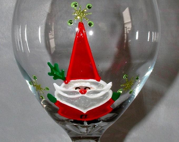 Retro Santa, Hand Painted, Santa wine glass, Santa's Milk Glass, gift for boss,Glass for Santa,Mr and Mrs Claus, Gift for him,Gift for her