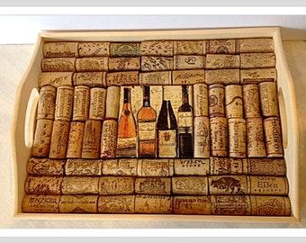 Wine Cork Serving Tray Cork Trivet Decoupaged Tuscan Wine Bottle tile Wine lover Gift Mediterranean Decor Gift for him or her Holiday Gift
