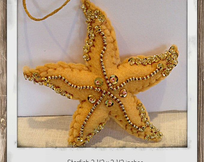 Felt Starfish  Christmas Ornament Nautical Decor Beach decor housewarming bathroom decor nursery decor mobile bebe baby mobile baby shower