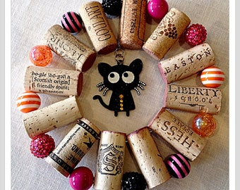 Black Cat up-cycled wine cork trivet hot pink beads hot plate wall decoration housewarming gift wine tasting party favor customized  orders