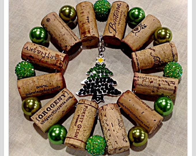 Rhinestone Christmas Tree up-cycled wine cork trivet hot plate wall decoration housewarming gift wine tasting party favor customized  orders