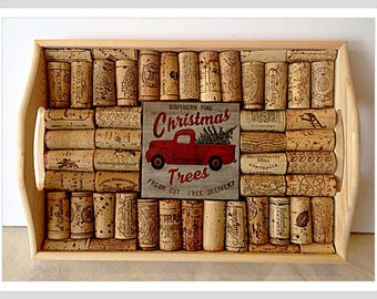 Wine Cork Serving Tray Cork Trivet Decoupage Red Pick up Truck Bring Home The Tree Tile Country Christmas Gift Tray Housewarming Gift