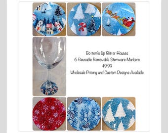 Glitter house Christmas decoration glitter village Christmas village glitter house charm Christmas glass holiday charms gift for her holiday
