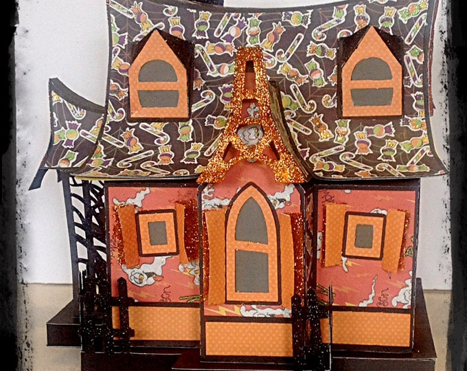 Large Glitter House,House Gift Box, Centerpiece,Halloween Village,Haunted House,Halloween Decor,Collectible House,Gift Box Putz gift