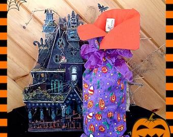 Jack o lanterns Candy Corn wine bag cover. Funny Halloween Gift Funny gift for her funny wine bag Hostess  gift  halloween  birthday gift
