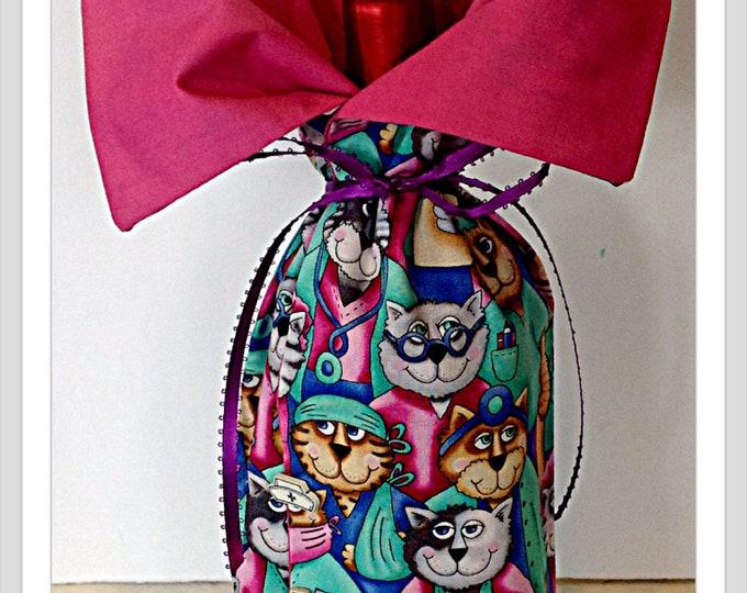 Cats Doctors Nurse Veterinarian gift  Bottle Bag Gift Bag  Wine Bottle Bag  funny gift for her him Thank you gift Nurse Graduation Dr Gift
