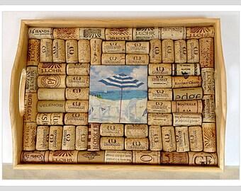 Wine Cork Serving Tray Cork Trivet Decoupage Beach Chair tile Bridal Shower gift hostess gift Wedding Gift Birthday Beach Decor serving tray
