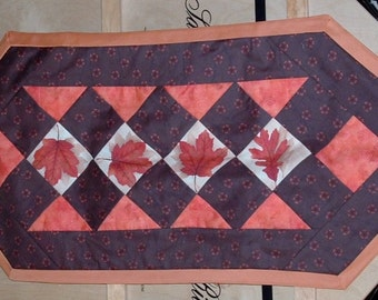 Fall Table Runner, Autumn Orange Leaves,Pieced Quilted Table Runner, Fall Autumn Table Decor, Handmade 36L x16 w reversible solid brown back