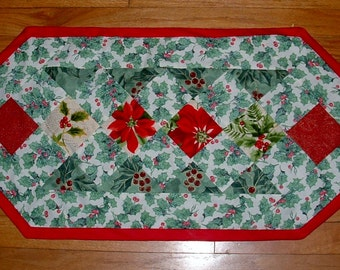Poinsettia and Holly  holly table runner Christmas Quilt Christmas Table Decor Holiday Fabric poinsettia fabric holly fabric hostess gift