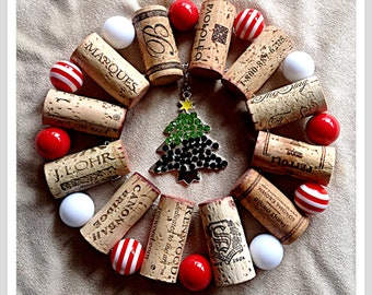Rhinestone Christmas Tree up-cycled wine cork trivet hot plate with Red and White Beads  wall decoration housewarming gift wine party favor