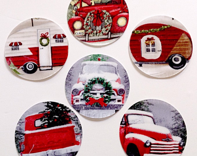 Christmas Tree Truck Vintage Red Truck Christmas Tree Vintage Camper Stemware Markers New Years Party Gift Wine Gift for Men xmas wreath