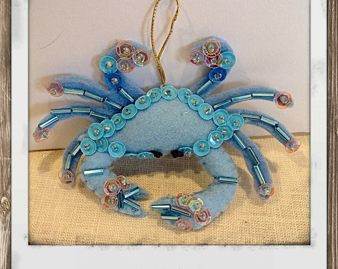 Felt Blue Crab Christmas Ornament Nautical Decor Beach decor housewarming bathroom decor nursery decor mobile bebe baby mobile baby shower