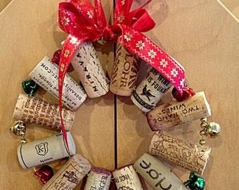 Jingle Bells Cork Wreath wine cork trivet Christmas decor holiday gift front door decor doorbell grab bag gift holiday party hostess gift