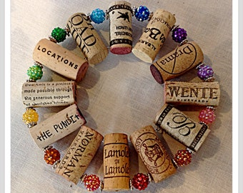 up-cycled wine cork trivet with bling sparkling beads multicolored faceted rainbow beads hot plate wall decoration housewarming gift for her