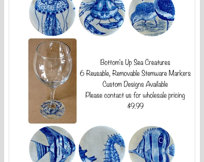Tropical Fish Sea Creatures Wine Glass Wine Glass Decals Beach decor Island decor Beach Wedding, Party favor,Gift for her, Gift for him Crab