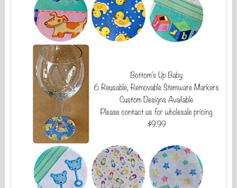 Baby Shower Bottom's Up! New Wine Glass Marker 6 different  REUSABLE  stemware bottom covers that stick under your glass. Great Favor Gift