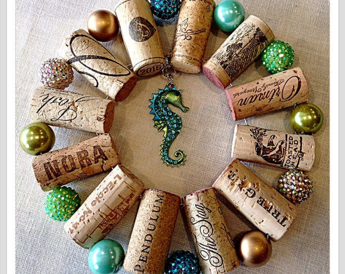 Seahorse  up-cycled wine cork trivet teal and gold hot plate wall decoration housewarming gift wine tasting party favor customized  orders
