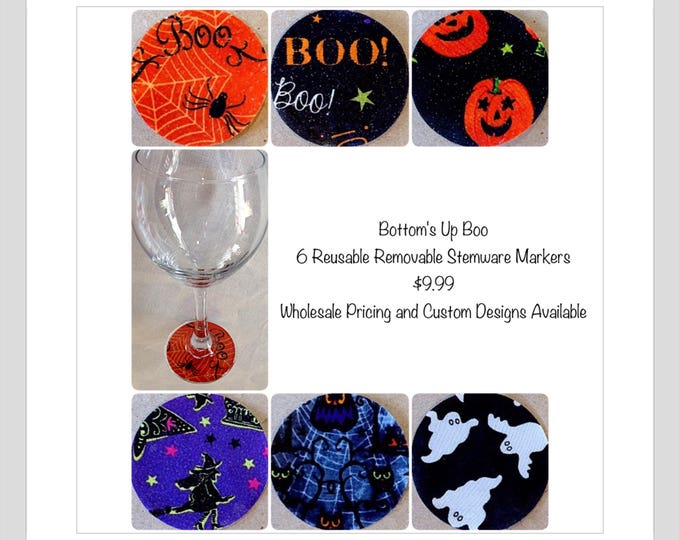 Spooky Town Halloween wine charm markers Scary Owls,spiders,ghosts,flying witches,Halloween party favor Halloween wine charm hostess gift