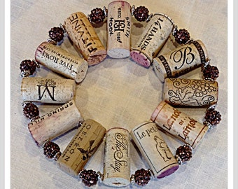 up-cycled wine cork trivet with brown bling beads hot plate wall decoration housewarming gift wine tasting party favor customized  orders