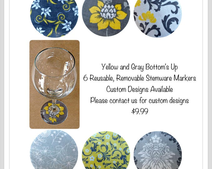yellow and gray Wine Gift Wine glass decal charms wedding favor engagement gift for her gift for Mom shower favor gift summer wedding favor