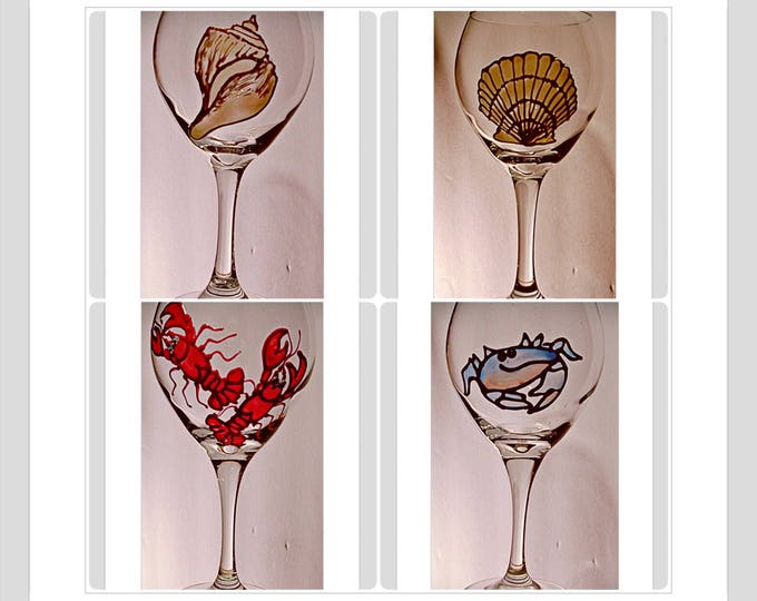 Beach wine glasses personalized his and hers wedding glasses Your My Lobster Blue Crab Seashell decor Custom wine glasse wedding shower gift