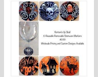 Halloween Wine Charm Markers skulls haunted house black cat Halloween sayings Halloween party favor Halloween decoration Halloween table