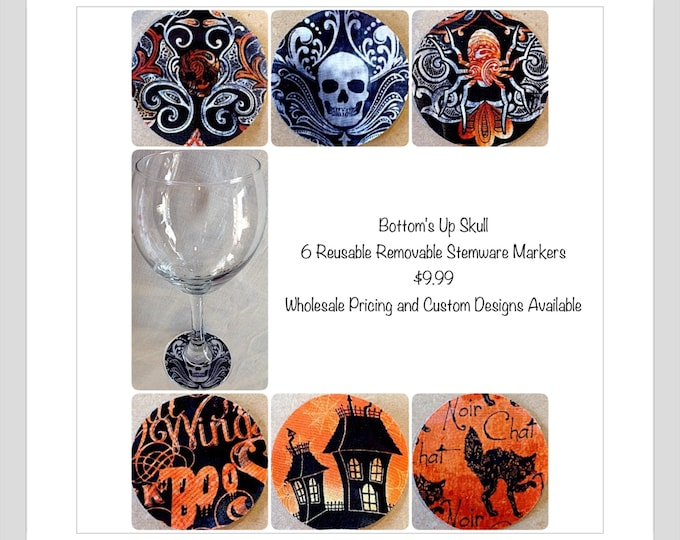 Halloween Wine Charm Markers skulls haunted house black cat Halloween sayings Halloween party favor Halloween decoration Halloween table