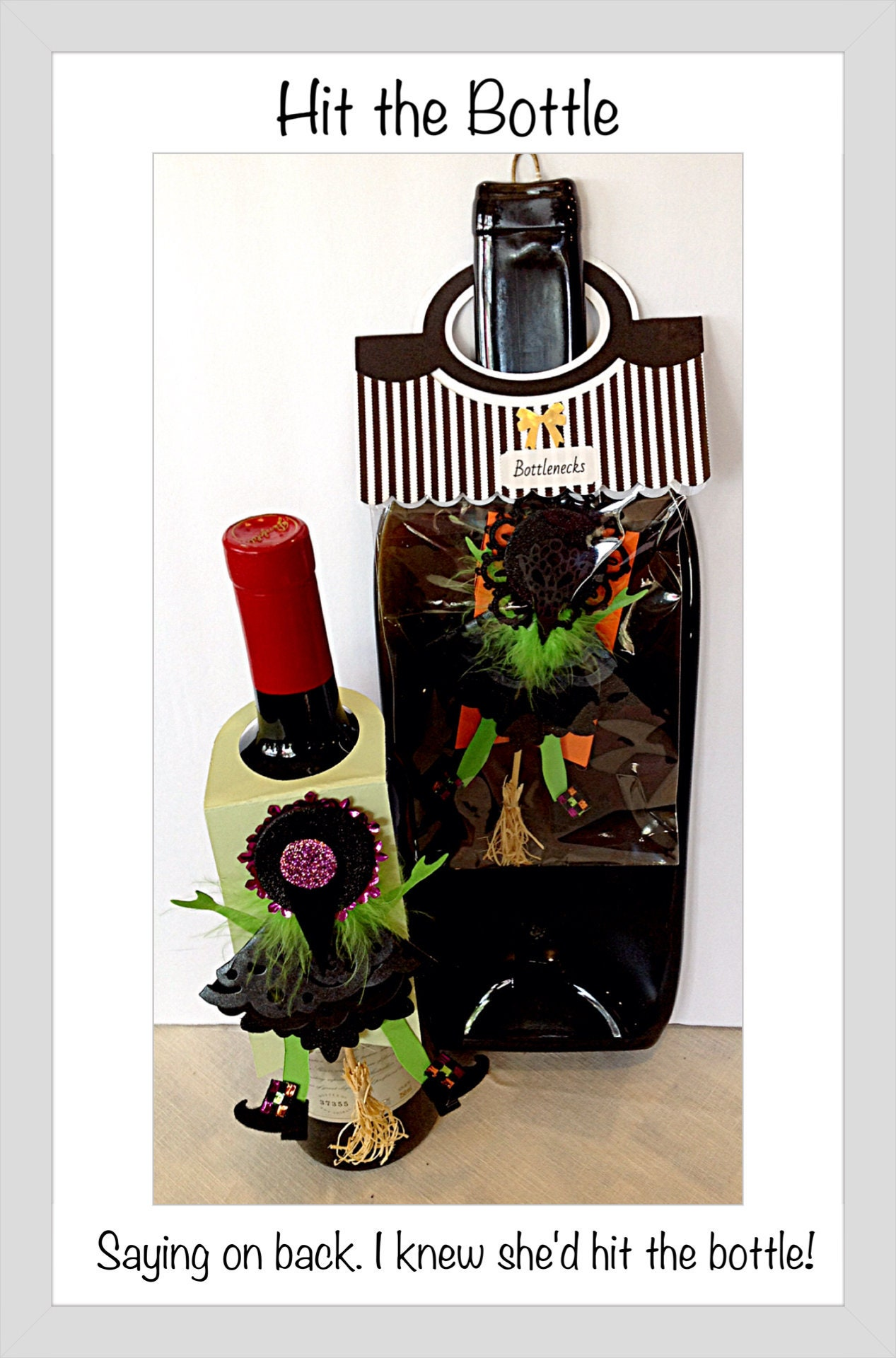 Halloween Card Witch Gift Tag Flying Hitting Door Funny Wine Bottle Birthday For Her