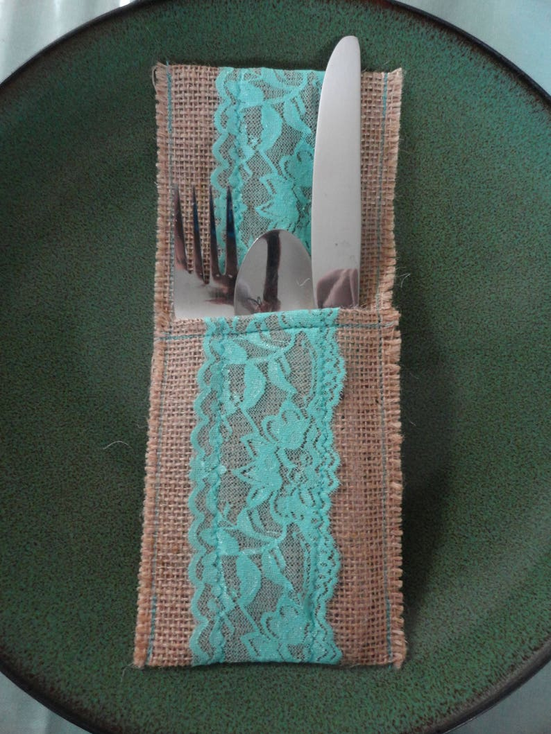 and everyday parties Rustic utensil pouch holder with aqua lace and burlap for weddings