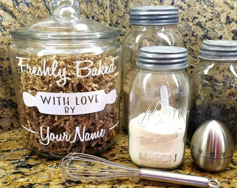1 Gallon Custom Cookie Jar Personalized Cookie Jar Glass Cookie Jar Cookie Lover Gift  Gift for Baker Cookie Jar Gift Gift For Mom Mother's
