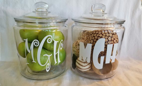 Wedding monogram 1 gal cookie jar diy design yourself font solutioingenieria