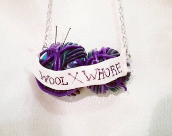 Wool Necklace with knitting needles   Hand made to order   Personalized with any Colours any Writing