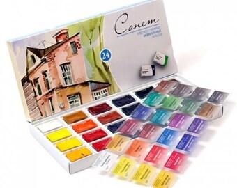 Watercolor Set, SONNET, 24 colors Full Pans 2.5 ml, Russian Watercolors, Saint Petersburg, Nevskaya Palitra