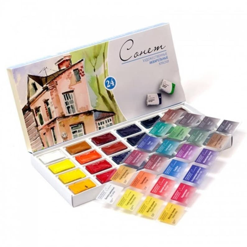 Watercolor Set SONNET 24 colors Full Pans 2.5 ml Russian image 0