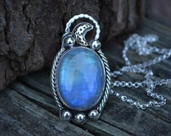 Rainbow Moonstone Moon Necklace, Moonstone Necklace, Rainbow Moonstone, Statement necklace, Moon, Celestial Jewelry,