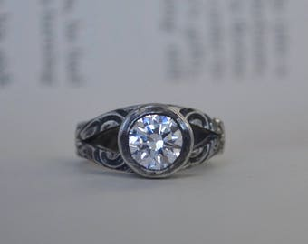 Rustic Engagment Ring, Engagement Ring, Alternative Engagement Ring, Swarovski Ring, Swarovski, Sterling Silver, Rustic Wedding