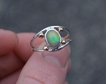 Opal Ring, Opal//Ethiopian Opal Ring//14K Gold//Gold Opal Ring//Sterling Silver Gold Opal Ring//Size 6.25