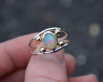 Opal Ring, Opal//Ethiopian Opal Ring//Gold//Gold Opal Ring//18K Gold Opal Ring//Sterling Silver Gold Opal Ring//Size 7