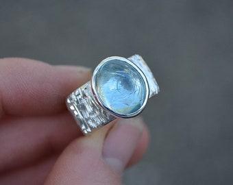 Aquamarine Ring, Size 7.25 , Aquamarine, Sterling Silver, Wide Band Aquamarine Ring, Wide Band Ring, Bark Band Ring, Bark Band