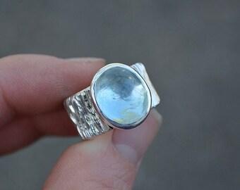 Aquamarine Ring, Size 6.25 , Aquamarine, Sterling Silver, Wide Band Aquamarine Ring, Wide Band Ring, Bark Band Ring, Bark Band