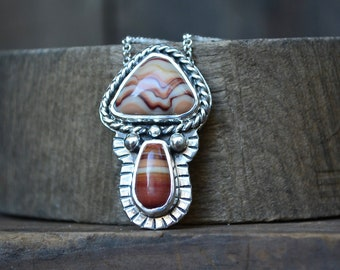 Mushroom Necklace, Mushroom, Gemstone Mushroom, Mushroom Jewelry, Sterling Silver, Silver Mushroom Necklace, Dolomite, Wave Dolomite, Groovy