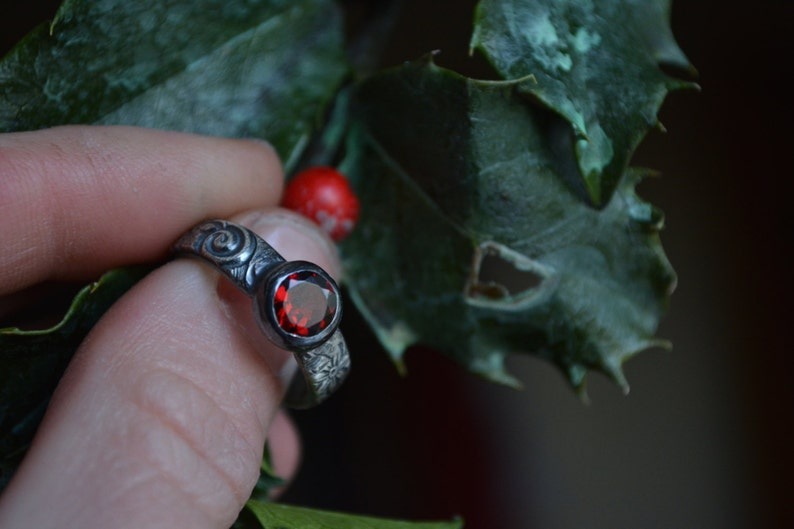 Red Gemstone Deep Red Garnet Red Garnet Ring Sterling Silver Faceted Garnet Ring Garnet Ring Silver Garnet Ring