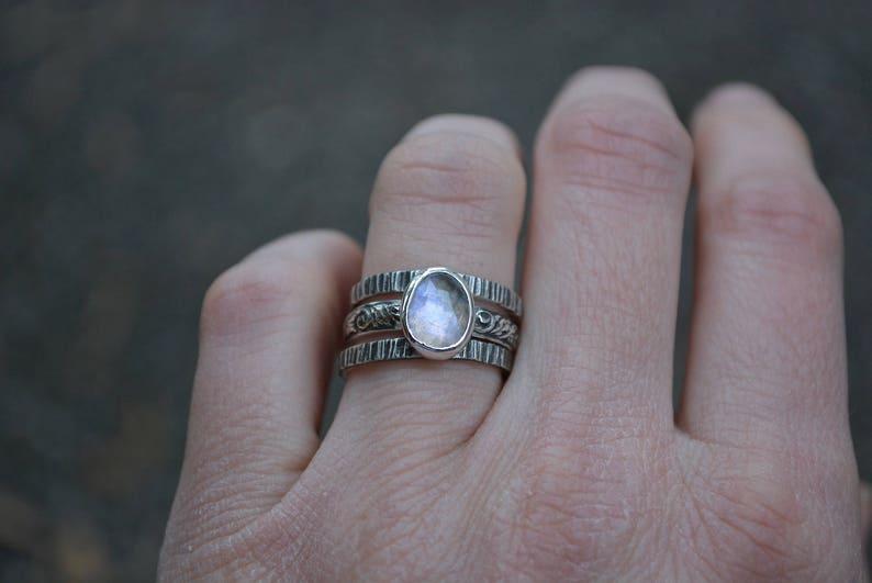 Moonstone Ring Rose Cut Moonstone Ring Rainbow Moonstone Stacking Rings Rainbow Moonstone Rings Sterling Silver,Stacking Set Moonstone