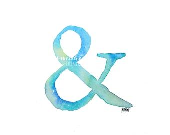 Blue Ampersand - Watercolor Print
